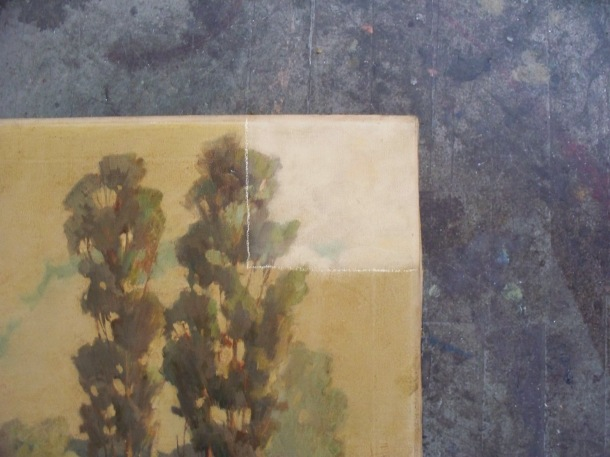 Detail of an oil painting by a California artist; removing old varnish.